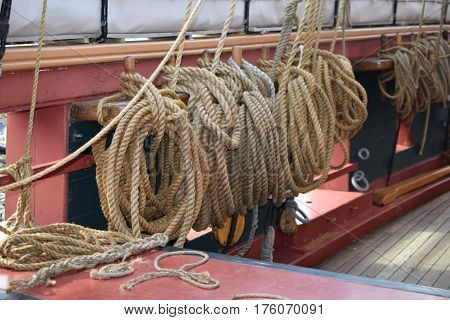 mooring ropes from vessel, tall ships erie, pa