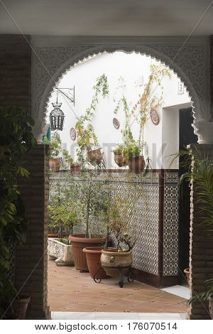 CORDOBA, SPAIN - JULY 19, 2016: Cordoba (Andalucia Spain): court (patio) of a historic typical house with plants