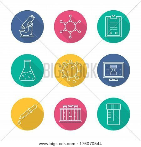 Science laboratory flat linear long shadow icons set. Microscope, molecular structure, tests checklist, beaker with liquid, virus, lab computer, pipette, test tubes and jar. Vector line illustration