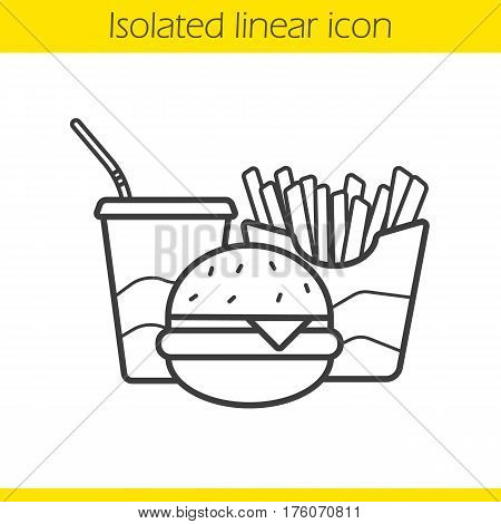Fastfood linear icon. Thin line illustration. Cola paper cup, cheeseburger and french fries. Junk food contour symbol. Vector isolated outline drawing