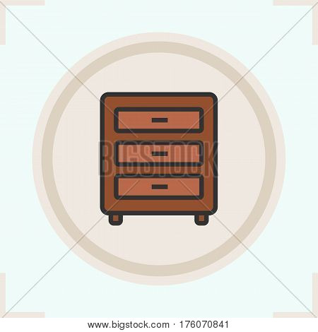 Chest of drawers color icon. Nightstand. Isolated vector illustration