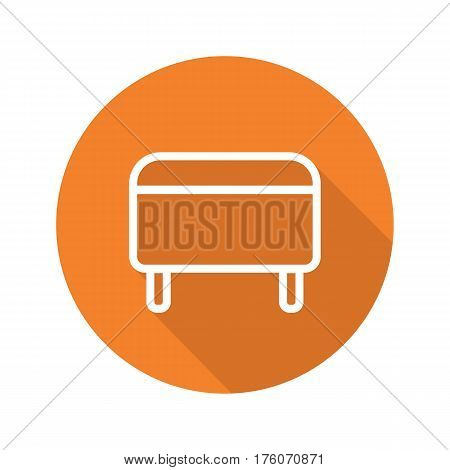 Ottoman flat linear long shadow icon. Pouf. Footstool. Vector line symbol