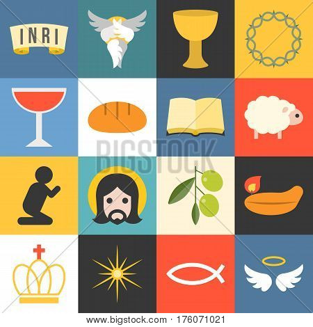 Vector all about jesus, seraphim,angle and bible, flat design