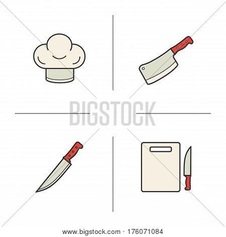 Butcher's instruments color icons set. Chef's hat, meat cleaver, cutting board and knife. Isolated vector illustrations