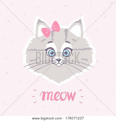 Cute and funny character cat with a bow on head. Vector illustration