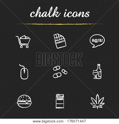 Addictions chalk icons set. Smoking, drugs, food, swearing, shopping, computers, alcoholism. Marijuana, cigarettes, pills, burger, chocolate, computer mouse. Isolated vector chalkboard illustrations