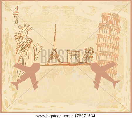 Travel design with different monuments , vector illustration