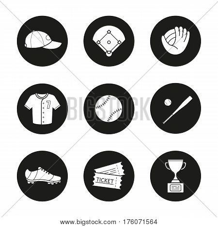 Baseball accessories icons set. Cap, field, mitt, shirt, ball, bat, shoe, tickets, winner's award. Softball player's kit. Vector white silhouettes illustrations in black circles