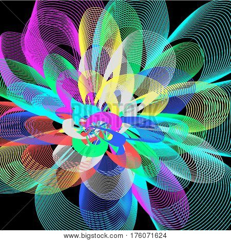 Abstract black background long white and yellow and pink and blue and green lines are twisted in the form of petals and fans are lined around the whole drawing