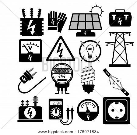 A 16 piece electrical industry icon set