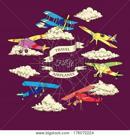 Background with Colored Airplanes and Clouds. Hand drawn sky vector illustration