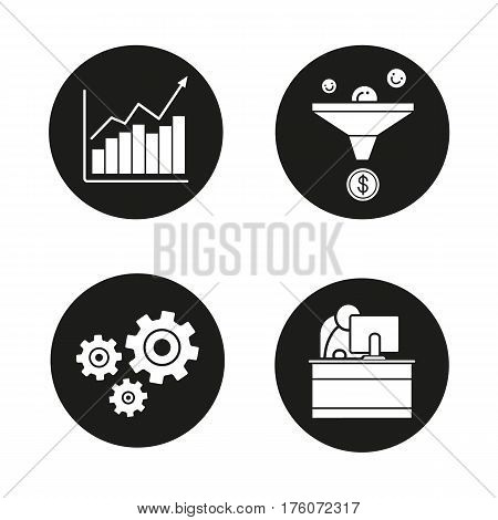 Business icons set. Sales funnel, growth chart, cogwheels and office worker. Vector white silhouettes illustrations in black circles