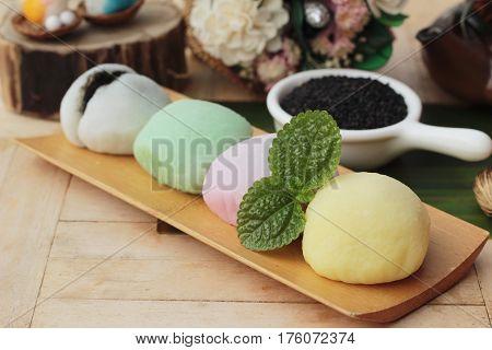 Daifuku Mochi Japanese dessert with black sesame