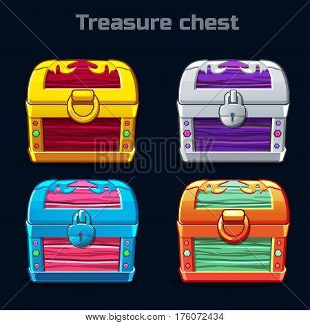 Fantastic cartoon antique treasure chest in different colors