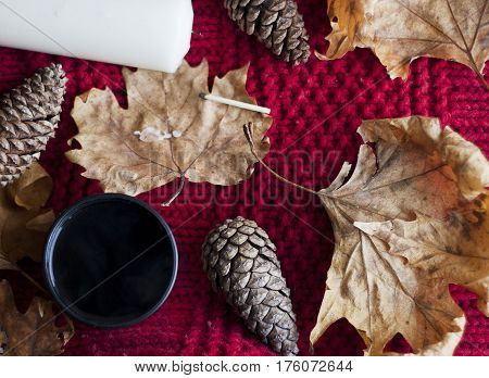 autumn leaves pinecones and tea on a red chunky knit
