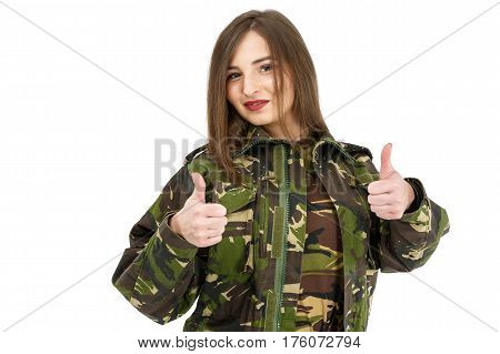 Young Woman Soldier In Military Camouflage Outfit Showing Peace Sign, Ok
