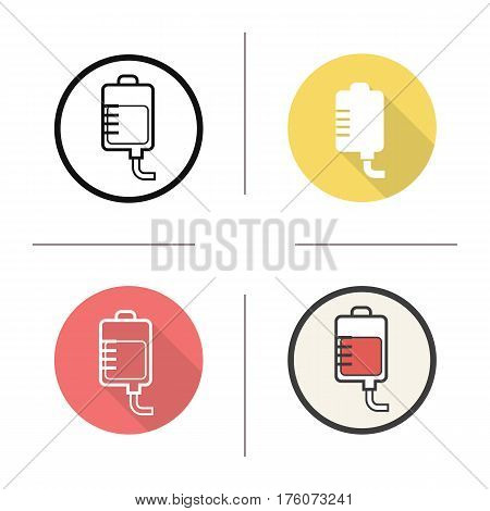 Blood bag icon. Flat design, linear and color styles. Medicine dropper. Blood transfusion. Isolated vector illustrations