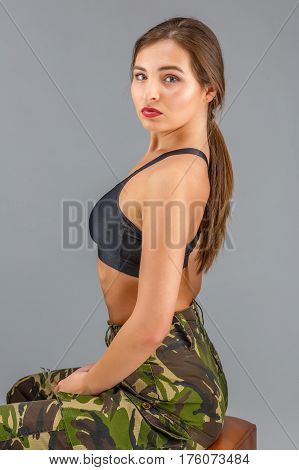 Beautiful Woman In Military Uniform Camouflage Sports