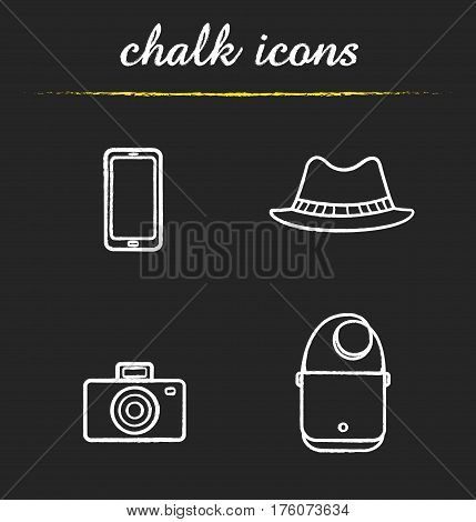 Tourist's equipment chalk icons set. Men's accessories. Smartphone, photo camera, homburg hat and leather handbag. Isolated vector chalkboard illustrations poster
