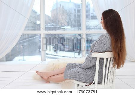 beautiful young woman waiting baby