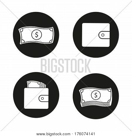 Money icons set. Cash. Dollar bills stack, leather wallet full of banknotes, one us dollar. Vector white silhouettes illustrations in black circles