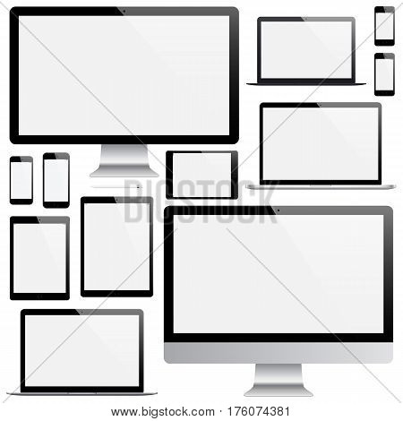 mockup gadget and device: smartphones tablets laptops and computer monitors black color with blank screen isolated on white background. stock vector illustration eps10