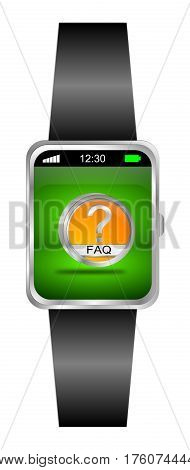 Smartwatch with orange FAQ Button - 3D illustration