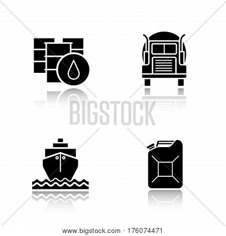 Oil transportation drop shadow black icons set. Petrol barrels and gasoline jerrycan, cargo ship and transportation tank truck. Isolated vector illustrations