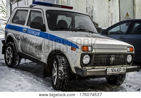 Kazakhstan, Ust-Kamenogorsk, march 5, 2017: Lada 4X4, Lada Niva, police car