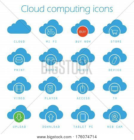 Cloud computing blue icons set. Digital storage silhouette symbols. Buy now, download, upload, print, access, games, music, tablet pc, web cam, video and tv. Vector isolated illustration