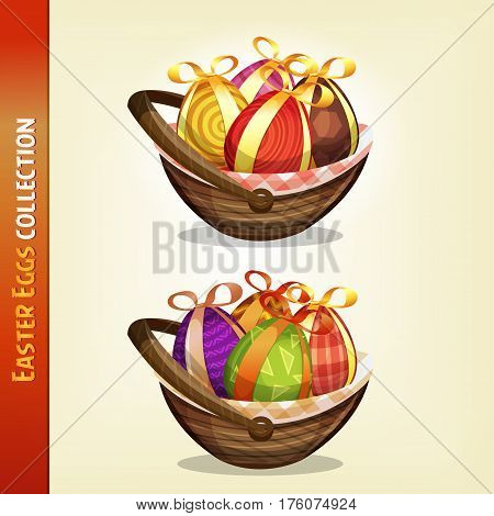 Illustration of a set of cartoon appetizing decorated easter eggs for spring april and march season holidays
