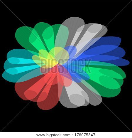 Abstract black background long red and white and green and blue and pink and green lines are twisted in the form of petals and a fan lined the entire figure