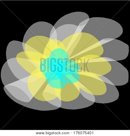 Abstract black background with long white and yellow and green lines twirled in the form of petals and fans lined the entire figure