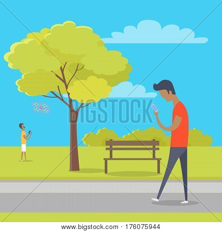 Boy looks at smartphone and walks in park where other guy plays with quadrocopter. Green tree, wooden bench, bushes and clouds on background. Vector illustration of modern outdoor recreation.