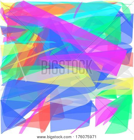 Abstract white background long green and yellow and blue and red and pink lines are twisted in the form of petals and a fan lined the entire figure