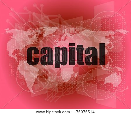 business touch screen interface with capital word