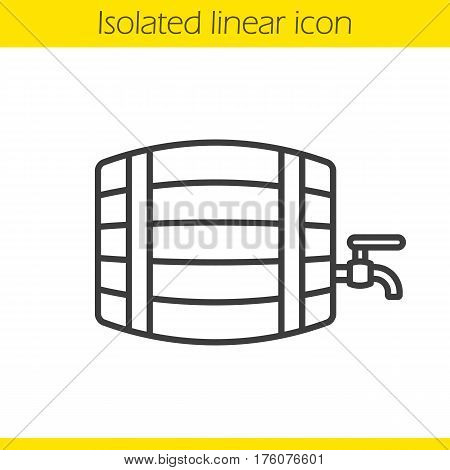 Alcohol wooden barrel linear icon. Thin line illustration. Whiskey, beer or rum barrel with tap. Bar and pub contour symbol. Vector isolated outline drawing