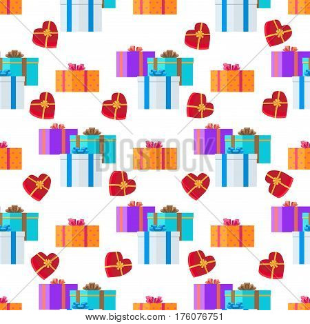 Adorned festive present boxes seamless pattern. Groups of gift boxes with colourful ribbons and bows endless texture with white background. Vector illustration of wallpaper design endless texture