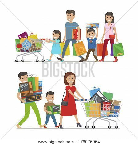 Two walking and smiling families with purchases. Lines of people carrying packages and riding trolleys with goods and items on white. Vector illustration of relatives going and doing shopping