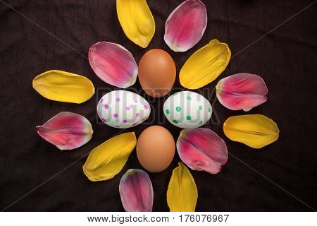 Fresh Brown Eggs And Painted Ester Eggs And Petals Of A Tulip On A Dark Tablecloth, Top View, Flat L