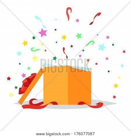Open square gift box with bow and stars that pop-up out of it on white background. Present package with bursting elements, surprise inside. Celebrate holidays and exchange gifts isolated vector