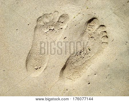 Two human footprints in the sand of a beach