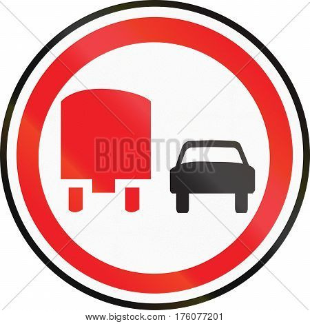 Belarusian Regulatory Road Sign - No Overtaking For Trucks