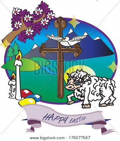A cross, a white dove, a lamb with a bright hallow, lit candles and painted eggs create this meaningful Easter card.