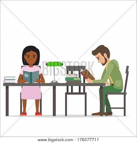 Female and male people sitting at table with green lamp and piles of volumes read books. Process of getting to know some information from paper editions. Vector illustration of reading youth