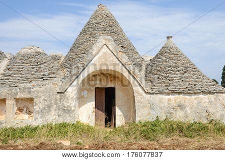 Fasano, Italy - 27June 2016: Traditional Trulli house on Puglia, Italy