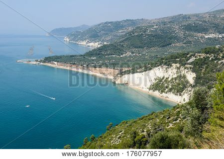 Land and sea and mountains all together here in Gargano National Park in Puglia Italy