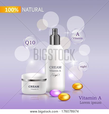 Natural night cream with Vitamin A and Q10. Cream bank and Spray beside colored stones on purple background with signs. Advertisement of natural cosmetical tools. Means for skin care vector illustration.