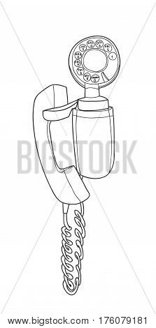 Vintage  Wall Phone,  Rotary Dial Telephone hand drawn vector line art illustration