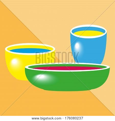 Different bowls. Kitchen utensils and equipment icon.